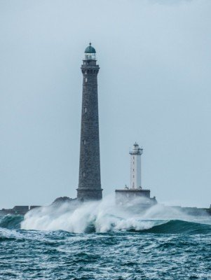 The two lighthouses in the wuthering sea.