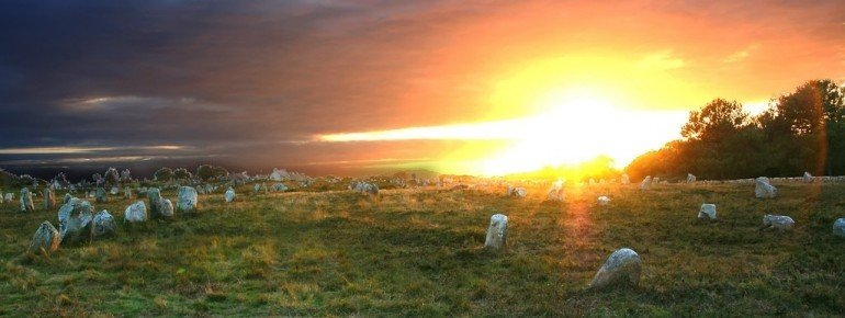 Mysterious atmosphere around the megaliths of Carnac