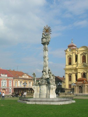 The Trinity Column depicts the three evils the city had to fight throughout its history.