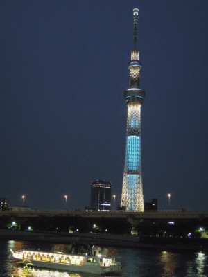 Tokyo Skytree at night: the illumination changes colour every two days.
