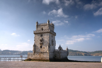 The tower is located at the shore of the river Tejo.