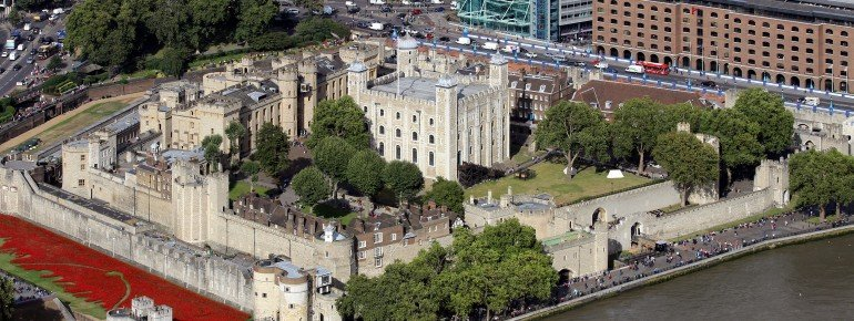 Aerial view of the Tower of London.