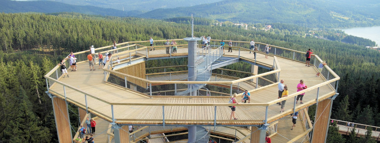 The viewing tower boasts a great view of the Bohemian Forest National Park.