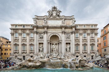 The front view of the Trevi Fountain