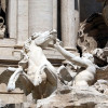 A detailed view of the Trevi Fountain