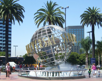 The Universal Studios Logo at the entrance of the park