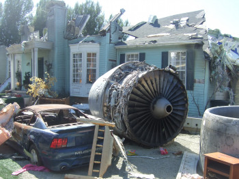Film set of a airplane crash