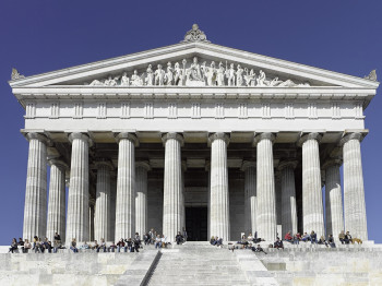The monument's architecture is modelled on a Greek temple.