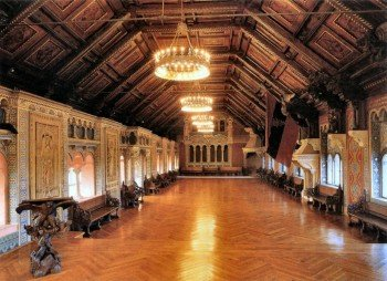 The Festssaal on the top floor features frescoes on the triumph of Christianity.