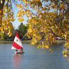 Pick one of tons of activities: Couple in a boat during fall at Washington Park.