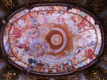 Unique ceiling fresco inside Weltenburg Abbey