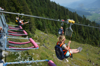 Up to four people can fly down the mountain simultaneously.