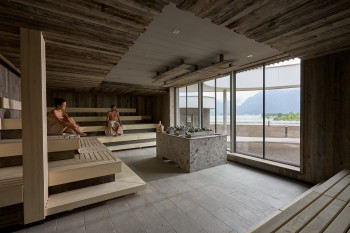 Penthouse spa offers a beautiful view over Lake Achen.