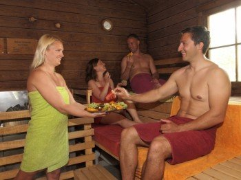 Wind down in one of the saunas.