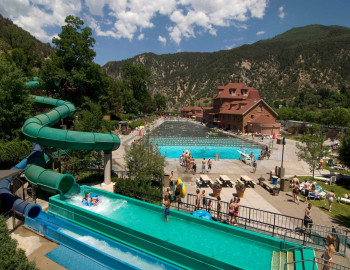 During summertime two waterslides are open