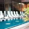 The outdoor area of the Liquidrom in Berlin also invites to relax