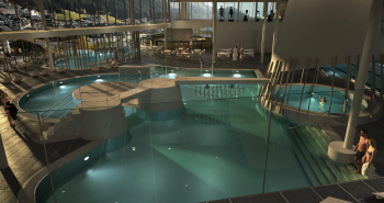 This is what the indoor pool area of the Silvretta Therme should look like.