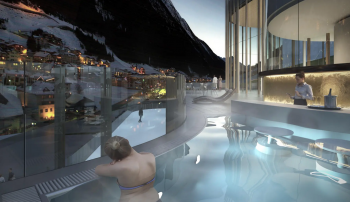 In the outdoor pool you can relax with a view of the Ischgl mountains.
