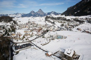 Once you arrive in Morschach, you can't miss the Swiss Holiday Park - no matter if it's summer or winter.