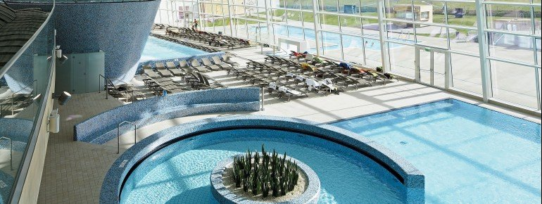 View of the pool landscape inside the Tauern Spa