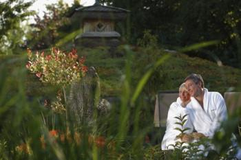 Der Garten sorgt für Entspannung nach dem Saunagang