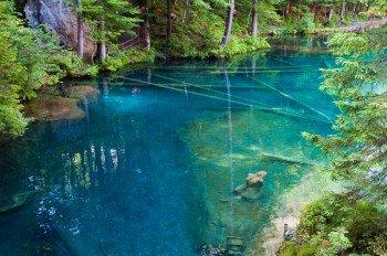 Der glasklare See mit seiner tiefblauen Färbung.