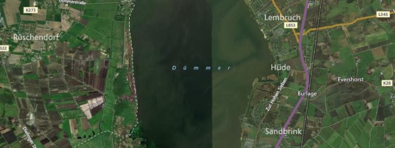 Blick aus der Vogelperspektive auf den Dümmer See.