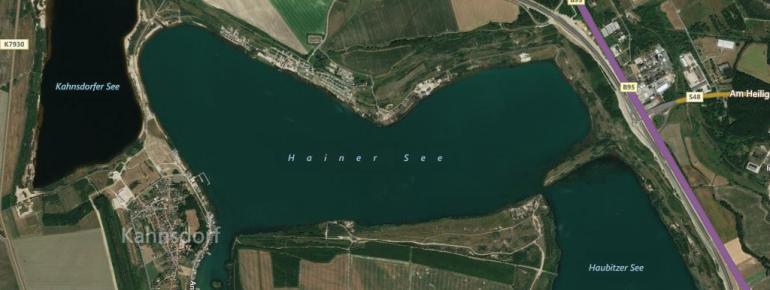Der Hainer See liegt direkt an der A72 zwischen Leipzig und Chemnitz.