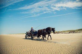 Pferdekutschen und Fahrräder ersetzen in Juist den motorisierten Verkehr