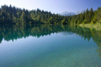 Der romantisch in einer Waldlichtung gelegene Crestasee.
