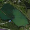 Der Albrechtshainer See aus der Luft gesehen.