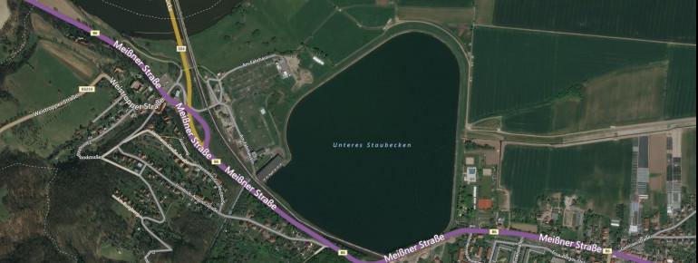 Satellitenbild Speicherbecken Niederwartha