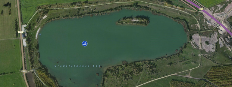 Aerial view of the lake.