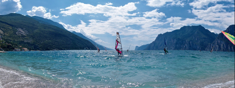 North bank of Lake Garda: wind surfing in Torbole
