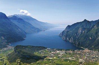 The north of the lake with Riva del Garda and Torbole.