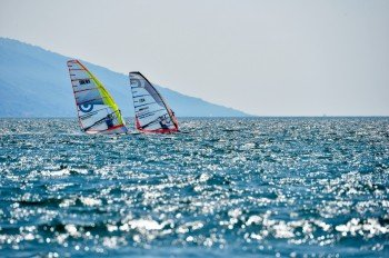 Wind surfing at Lake Garda