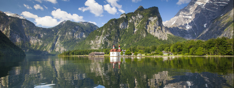 Pilgrimage church St. Bartholomew is lake Königssee's famous Landmark. It is accessible only by boat.