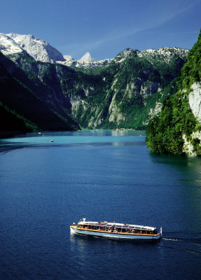 Königssee lies between Berchtesgaden's Alps like a fjord.
