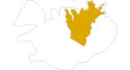 Karte der Wanderungen in Nordostisland