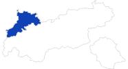 Karte der Bademöglichkeiten in der Naturparkregion Reutte