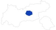 Karte der Bademöglichkeiten in der Region Hall - Wattens