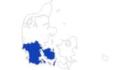 Karte der Bademöglichkeiten in Süddänemark