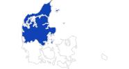 Karte der Bademöglichkeiten in Nord- und Mitteljütland