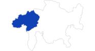 Karte der Bademöglichkeiten in Surselva