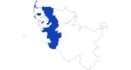 Karte der Bademöglichkeiten an der Nordsee (Schleswig-Holstein)