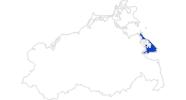 Karte der Bademöglichkeiten auf der Insel Usedom