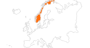 Karte der Ausflugsziele in Norwegen