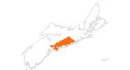 Karte der Ausflugsziele in Halifax und Umland