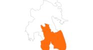 Karte der Ausflugsziele in Lakonien