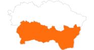 Karte der Ausflugsziele in der Region Kosice und Umgebung